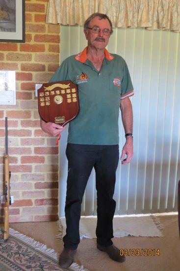 2014 Retiring President Allan Faulkner with Club Honour Board